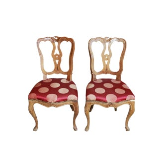 Vintage Polka Dot Upholstered Wooden Carved Chairs - A Pair