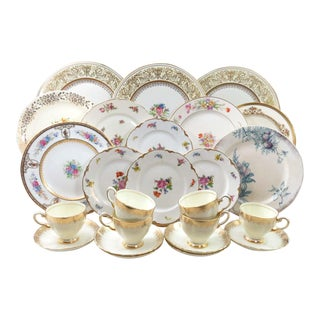 Vintage Mismatched China Dinnerware Set, Service for 6 (24 Pieces)