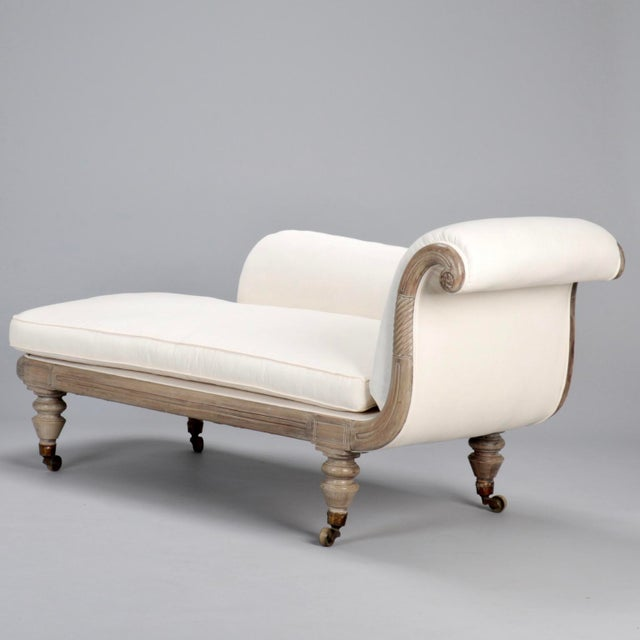 French chaise longue with bleached wood frame chairish for Chaise longue for sale ireland