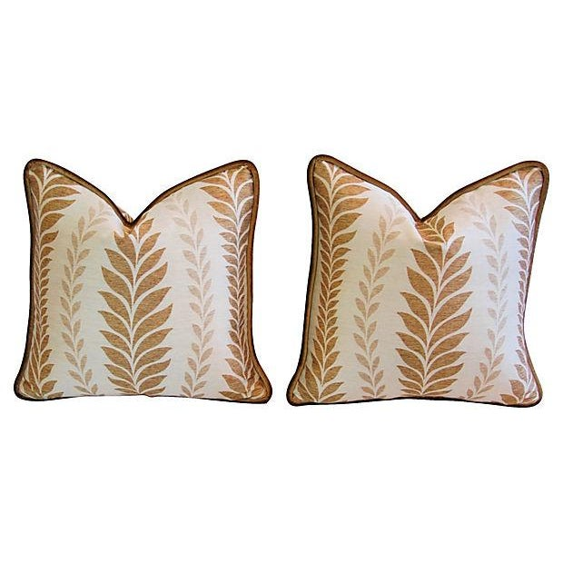 Iman Golden Zahra Golden Leaf Pillows - A Pair - Image 7 of 7