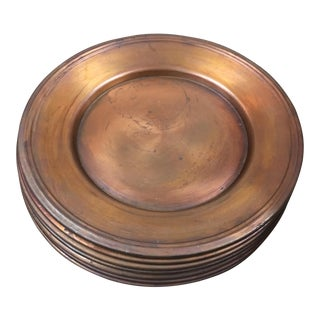 Vintage Copper Chargers - Set of 7