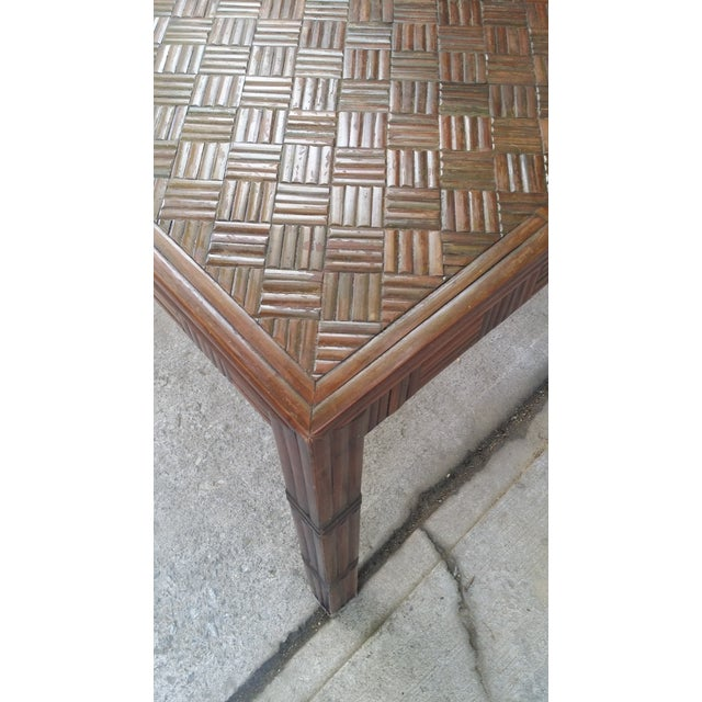 Tessellated Bamboo & Wood Dining Table - Image 6 of 6
