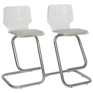 Italian Hollywood Regency Chrome & Lucite Counter Stools - A Pair