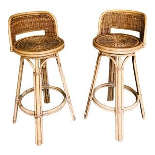 Vintage Boho Rattan & Bamboo Swivel Bar Stools - A Pair