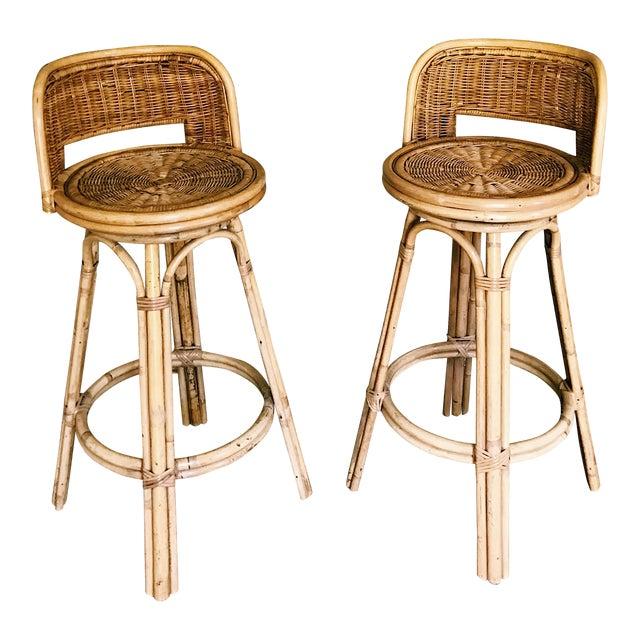 Product Bamboo Stools ~ Vintage boho rattan bamboo swivel bar stools a pair