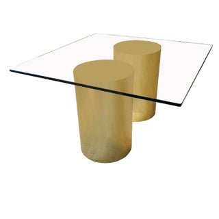 Curtis Jere for Pace Brass Dual Cylinder Dining Table