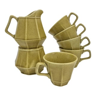 Mid-Century Chartreuse Tea Set - Set of 7
