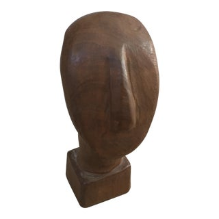 Vintage Mid Century Modern Wood Bust