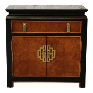 Century Furniture Chin Hua Black Lacquer & Burlwood Nightstand