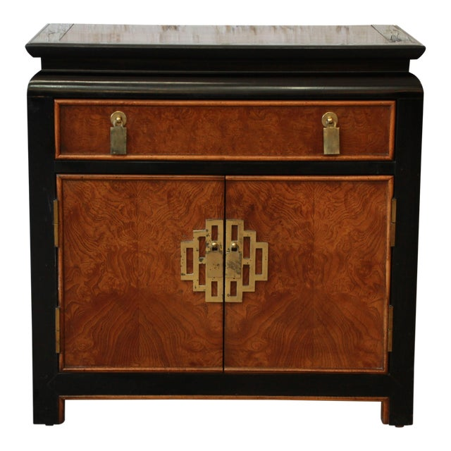 Image of Century Furniture Chin Hua Black Lacquer & Burlwood Nightstand
