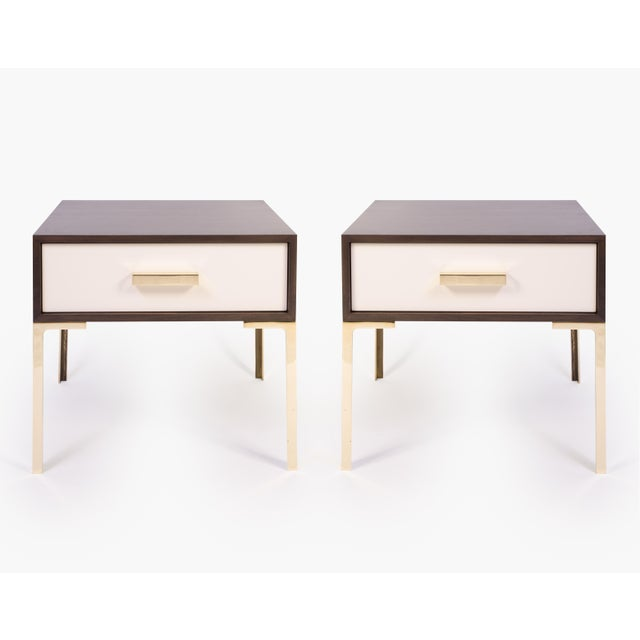 Image of Astor Nightstands in Contrasting Ebony & Ivory by Montage - Pair