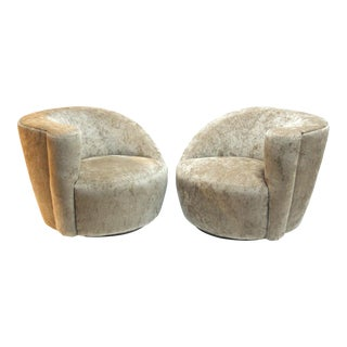 Vladimir Kagan for Directional Nautilus Swivel Lounge Chairs - A Pair