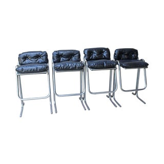 Jerry Johnson Tubular Chrome Barstools - Set of 4
