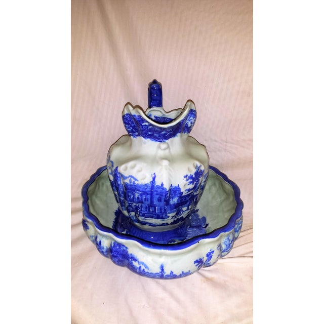 Vintage Chinese Flow Blue Pitcher & Wash Basin - A Pair - Image 4 of 10