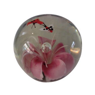 Pink Orchid Glass Paperweight