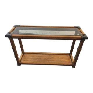 Contemporary Carved Oak Glass Top Console Table