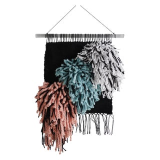 Handwoven Black, Turquoise & Light Coral Wall Hanging