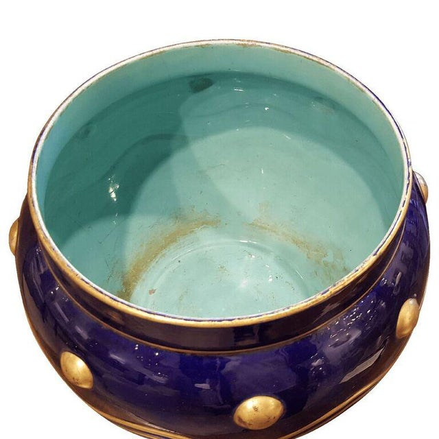 French Faience Cachepot with Gilt Detail - Image 6 of 7