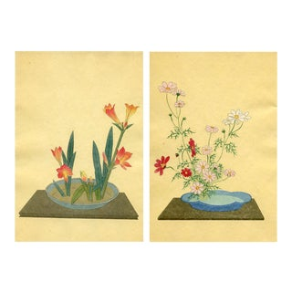 Japanese Flower Arrangements, Pair of Lithographs