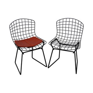 Knoll Mid-Century Bertoia Black Wire Childs Chairs - Pair
