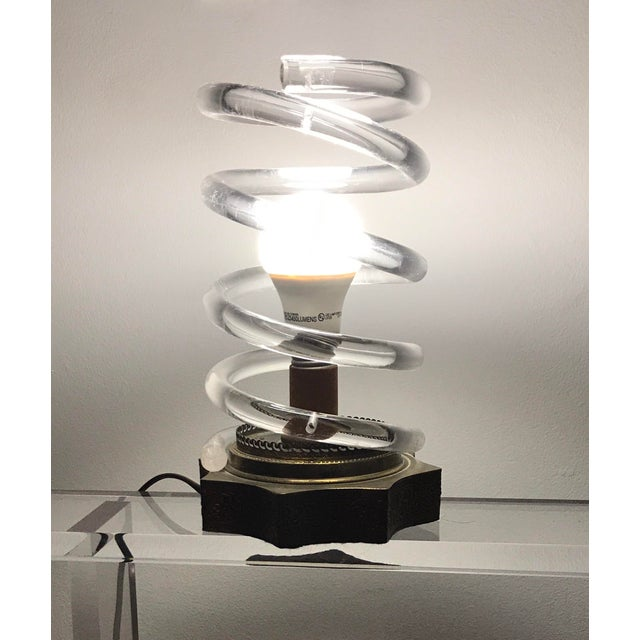 Dorothy Thorpe Brass & Lucite Spiral Lamp - Image 5 of 6