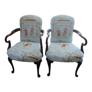 Light Blue Asian Motif Armchairs - A Pair