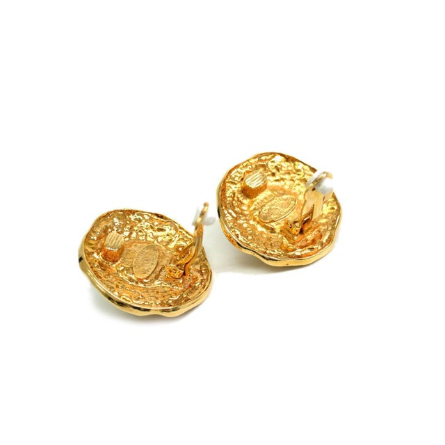 Image of Chanel Clip-On Metal & Faux Pearl Earrings