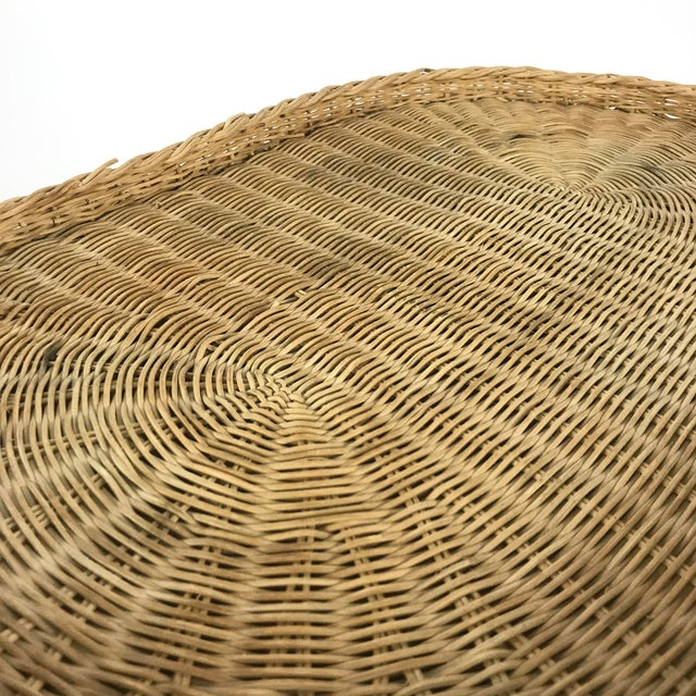 Vintage Woven Wicker Rattan Elephant Side Table - Image 5 of 7