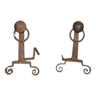 Antique Arts & Crafts Andirons - A Pair