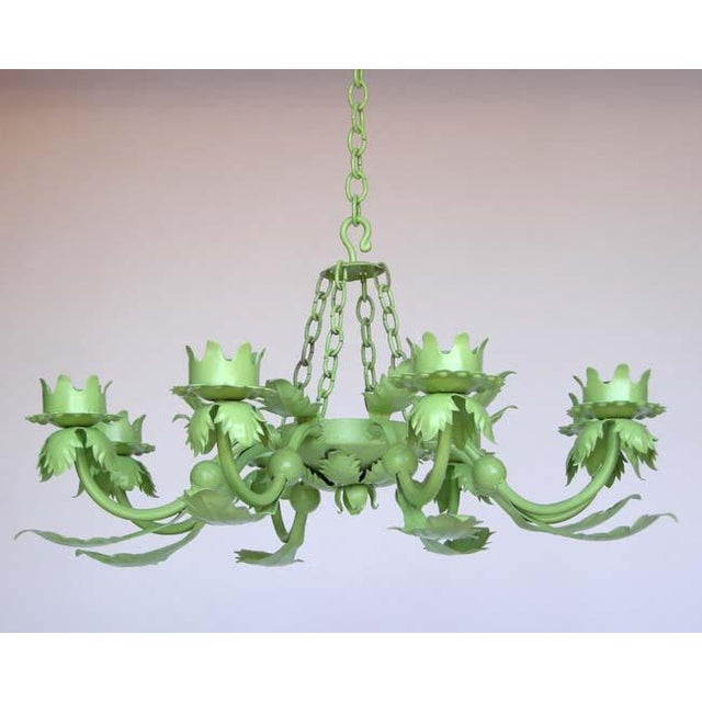 Painted Wrought Iron Chandelier - Image 2 of 7