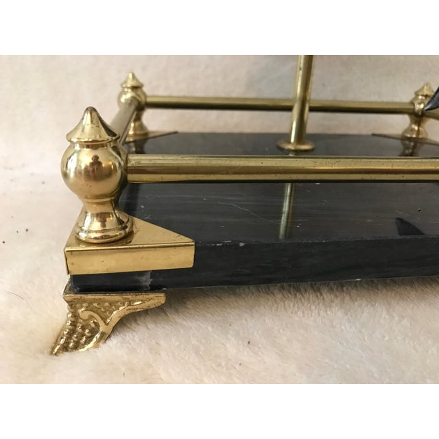 Brass & Black Marble Fireplace Tools Set - Image 3 of 8