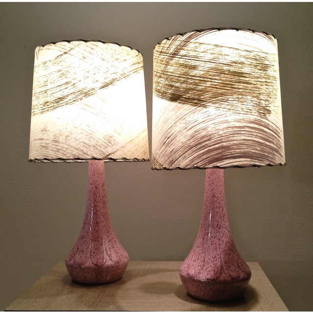 Image of Mid-century Atomic Era Bedside Table Lamps - Pair