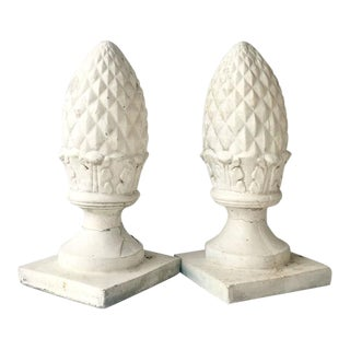 Cast Stone Acorn Finial Sculptures - A Pair