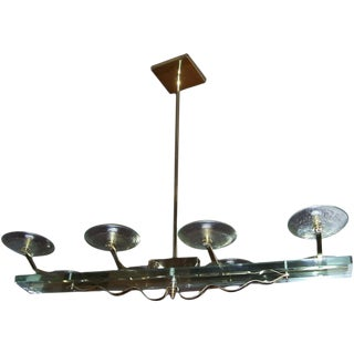 Italian Brass and Glass Eight-Light Chandelier