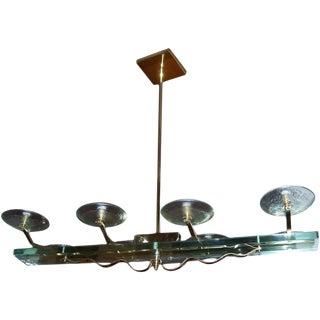 Italian Brass and Glass Eight-Light Chandelier