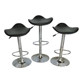 Leather & Chrome Bar Stools – Set of 3