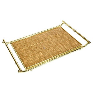 Gilt Bamboo-Style Handled Serving Tray