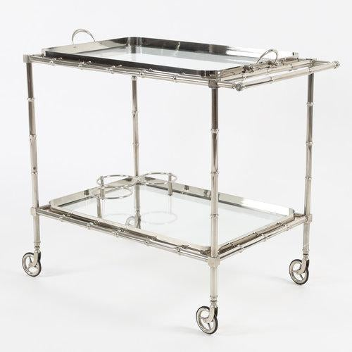 1960S SWEDISH POLISHED-NICKEL, FAUX-BAMBOO BAR CART ON CASTERS - Image 9 of 10