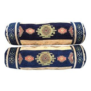 Velvet Tribal Stunning Bolster Pillows - A Pair