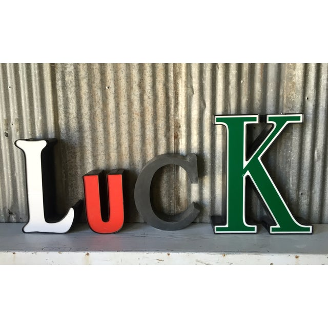 vintage luck channel letters set of 4 chairish With vintage channel letters for sale