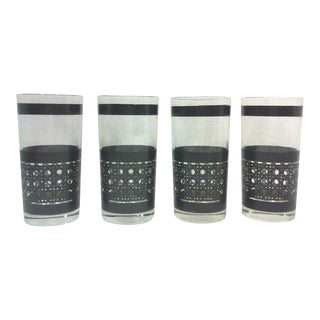 Mid-Century Black Faux Cane Tumblers - Set of 4