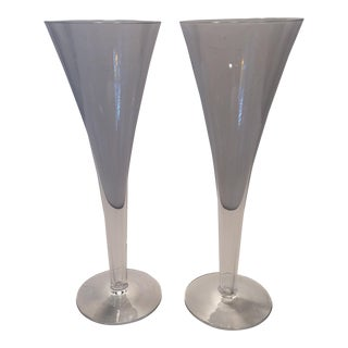Tiffany & Co. Crystal Champagne Flutes - A Pair