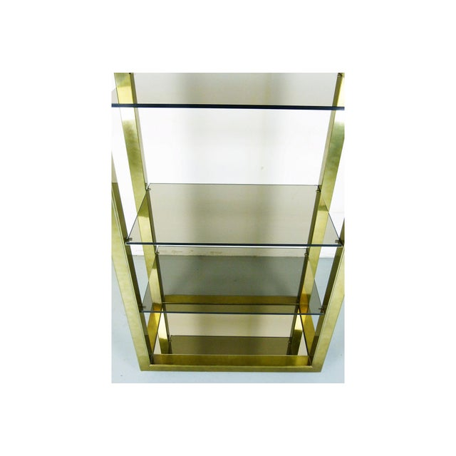 Vintage Brass & Smoked Glass Four-Shelf Étagère - Image 3 of 5