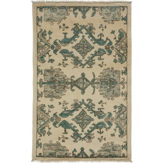 "New Ivory Oushak Hand-Knotted Rug - 2'9"" x 4'3"""