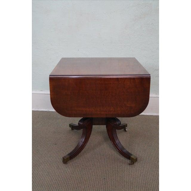 Custom English Regency Style Drop Leaf Side Table - Image 3 of 10