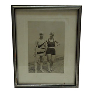 Circa 1920 Black & White Photograph Girls in Bathing Suits