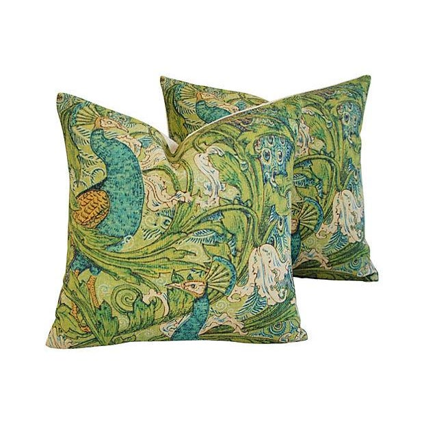 Lush Floral & Peacock Linen Pillows- A Pair - Image 2 of 8