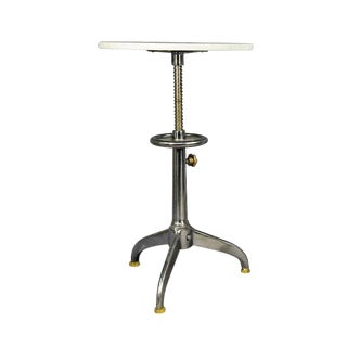 Industrial Adjustable Marble Top Side Table