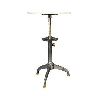 Industrial Adjustable Marble Top Side Table
