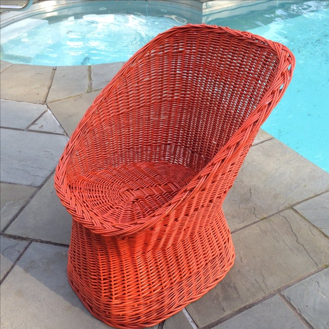 Vintage Bright Orange Wicker Chair - Image 3 of 11